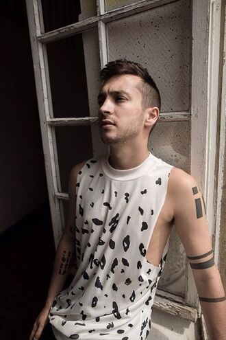 t-shirt dalmation tyler joseph top celebrity singer mens top white top sleeveless top tattoo shirt twenty one pilots muscle tee