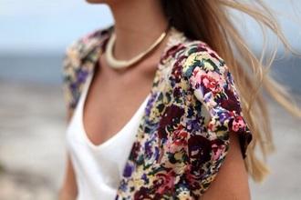 cardigan floral green pink blue purple floral cardigan short sleeve t-shirt