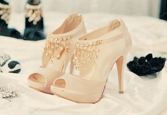 shoes diamond high heels beige shoes