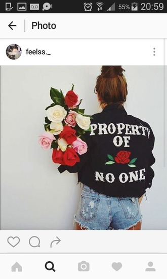 jacket denim denim kacket veste veste en jean noir veste noir denim noir denim black black jachet black jacket property of no one no one roses rose fleurs flowers property of no one