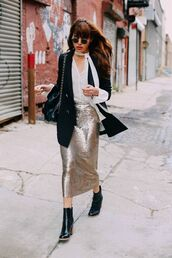 skirt,silver skirt,tumblr,midi dress,pencil skirt,glitter,shirt,white shirt,black blazer,blazer,boots,black boots,high heels boots,ankle boots,bag,black bag,sunglasses,round sunglasses,sequin skirt