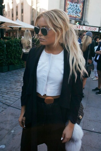 shirt white jacket white top cropped style jeans sunglasses