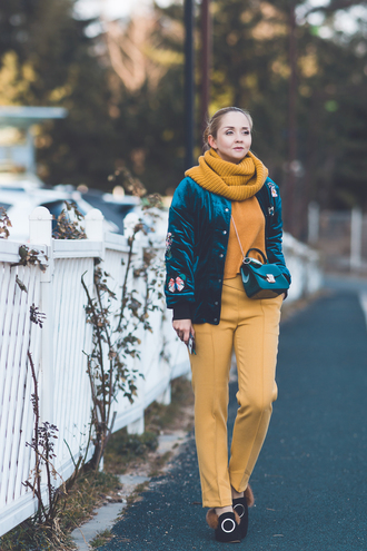 my blonde gal blogger bag pants scarf sweater shoes orange fall colors bomber jacket