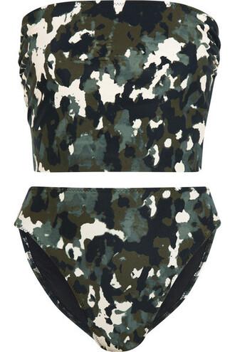 bikini bandeau bikini camouflage print green army green swimwear