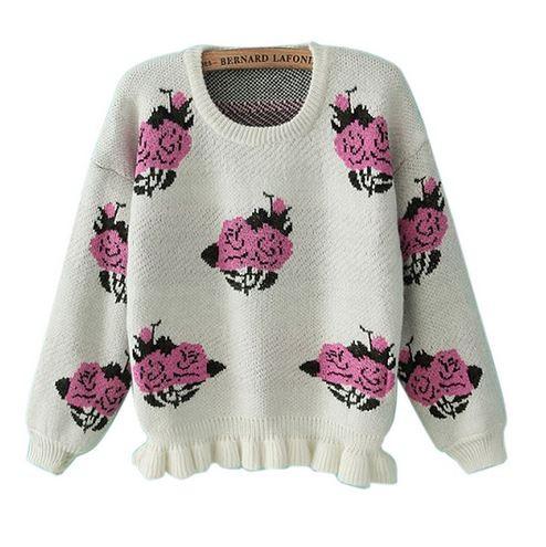 Beige Knit Peony Sweater with Ruffle Hem