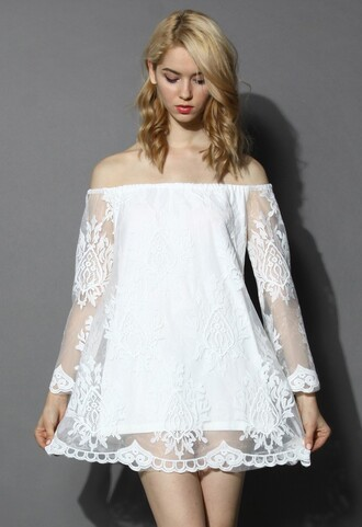 chicwish baroque embroidered off the shoulder whiter dress white boho gypsy festival vintage dress lace