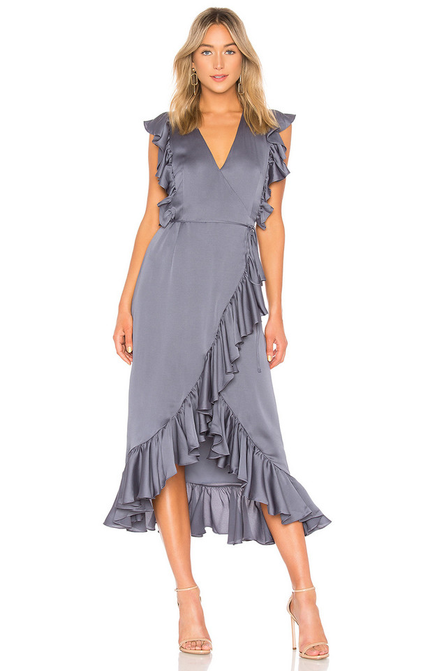 Shona Joy Luxe Ruffle Wrap Midi Dress in charcoal