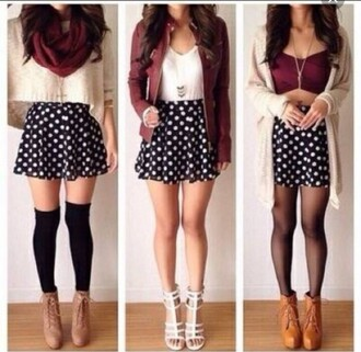 scarf burgundy skarf skarf burgundy cropped top boots black knee high socks polka dot skirt cardigan white sweater lether jacket long necklace skirt