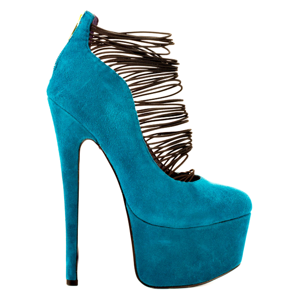 London Trash CERES Platform Pump in Teal Suede – FLYJANE