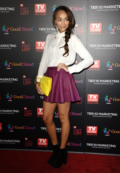skirt short skirt leather skirt ashley madekwe red carpet leather plum bordeaux event tumblr