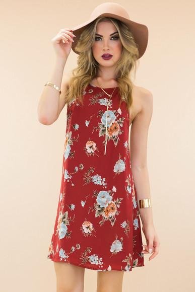 floppy hat haute & rebellious boho floral dress shift dress satin dress sexy dress