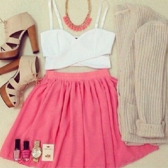 skirt wood high heels high heels tan high heels white crop tops pink skirt pink skater skirt spring outfits pretty beautiful pink skater skirt girly outfits tumblr girly shirt jewels jacket shoes cut out crop top