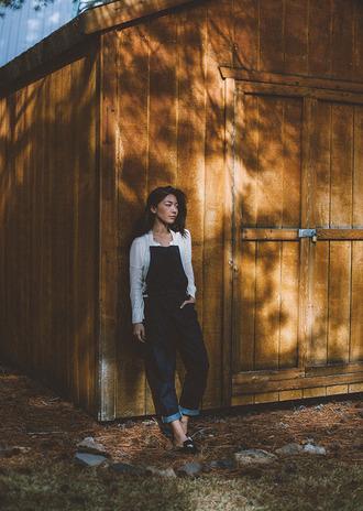 honey n silk blogger sweater denim overalls casual coat shoes
