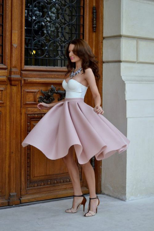 Pink Skirt And White Top Shirt Pink And White Scuba