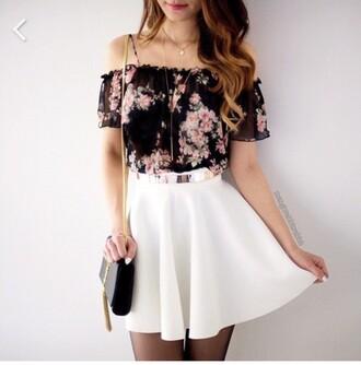 top black pink summer floral frilly straps shoulder floaty