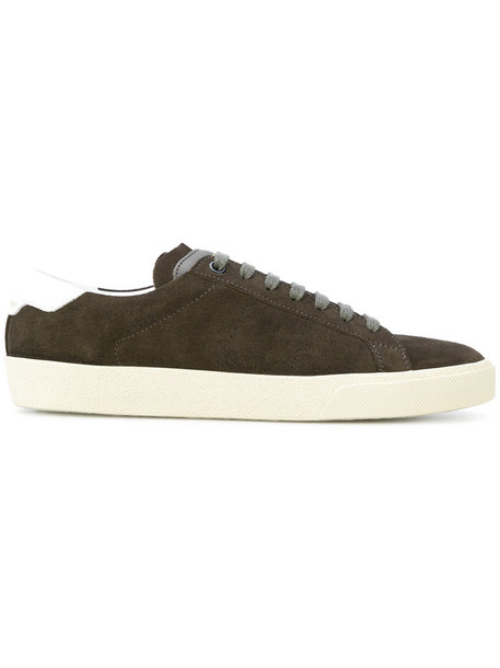 women classic sneakers leather suede green shoes