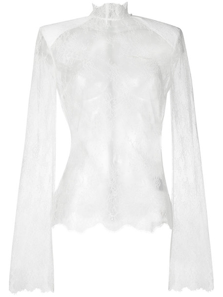 Off-White top lace top high women high neck lace white silk