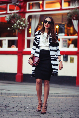preppy fashionist blogger sunglasses jewels top skirt coat shoes bag striped coat