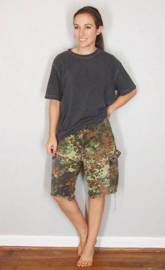 shorts german cut offs boyfriend tomboy flecktarn german military army green vintage military camouflage camo pants camo shorts cut off shorts boyfriend jeans boyfriend tshirt