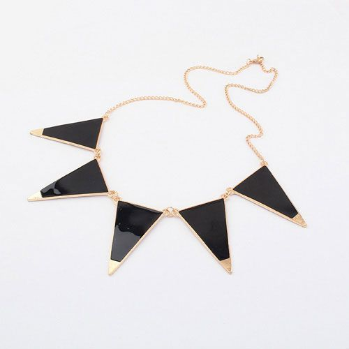 Fashion Gold Alloy Chain With Black Trangle Shape Female Bib Necklace - DualShine