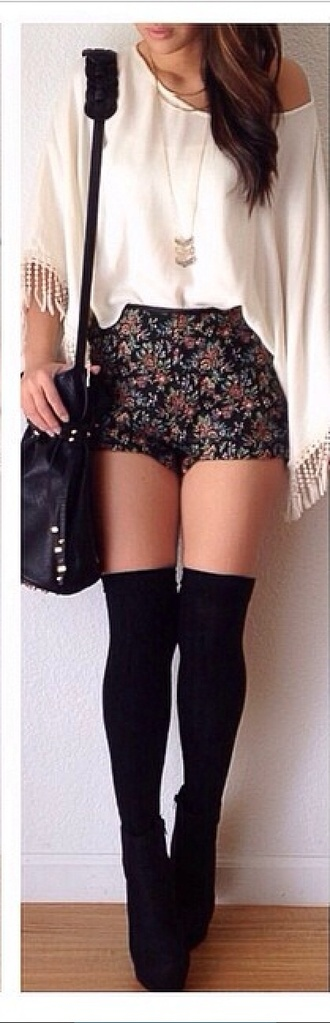 shorts floral shorts fashion white top tights black heels