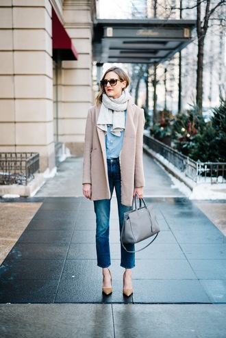 bag see jane blogger shirt jeans coat scarf shoes