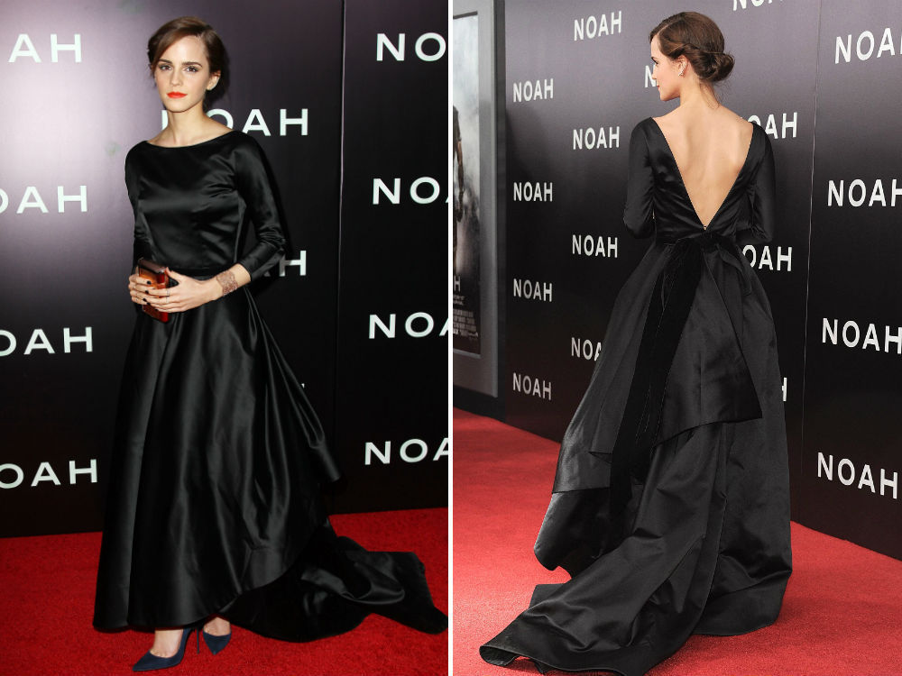 Oscar Emma Watson Black full sleeves long elegant and demure red ...