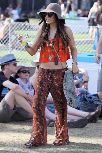 pants hippie cute top boho orange coachella crop tops vanessa hudgens