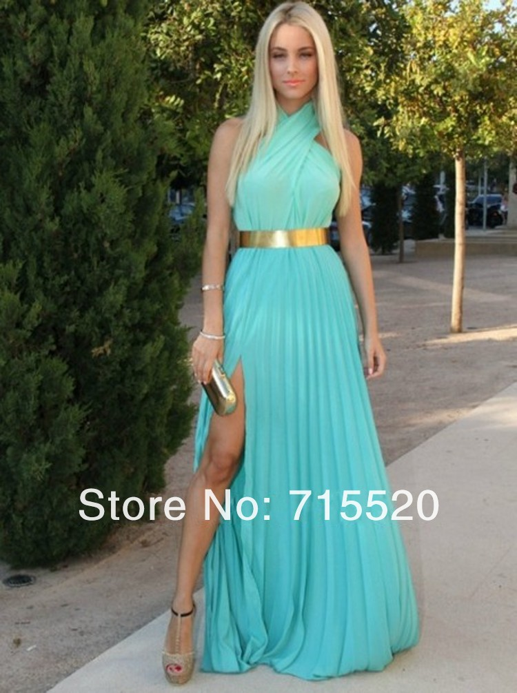 New Arrival Popular Sexy Halter Open Back FLoor Lenghth  With Belt Evening Dress 2014 -in Evening Dresses from Apparel & Accessories on Aliexpress.com