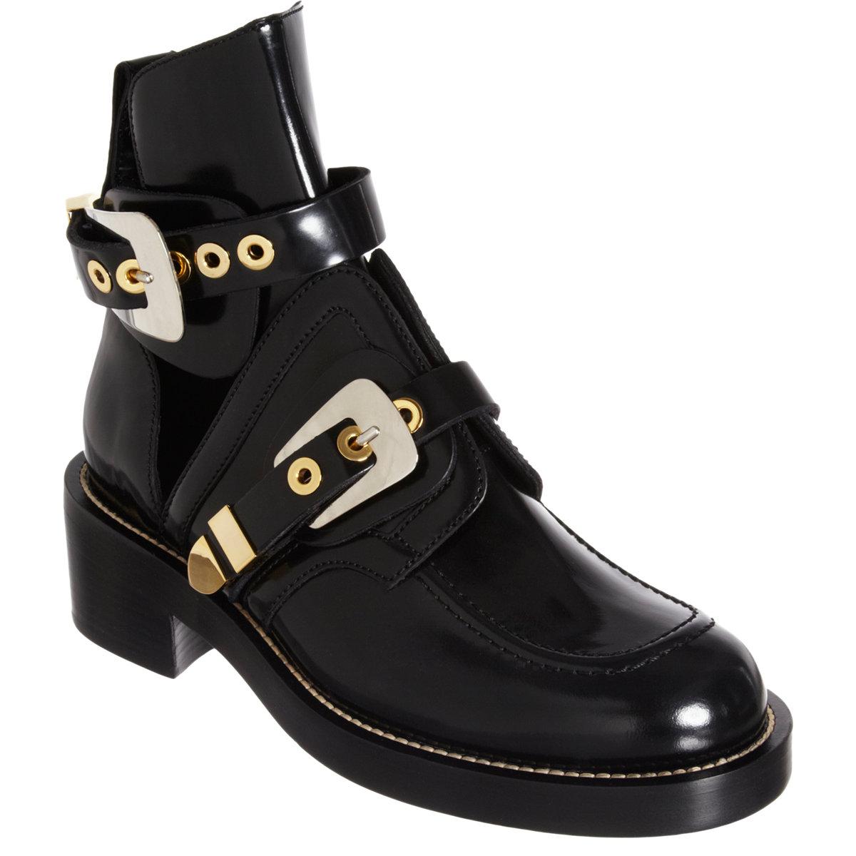Balenciaga double buckle strap boot at barneys.com