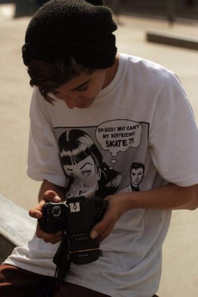 t-shirt white shirt comic drawing skater crying crying eyes comic shirt comic book think bubble girl shirts t shirt print boyfriend tshirt girlfriend shirt