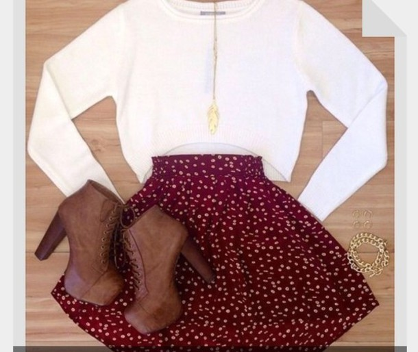skirt shirt shoes jewels