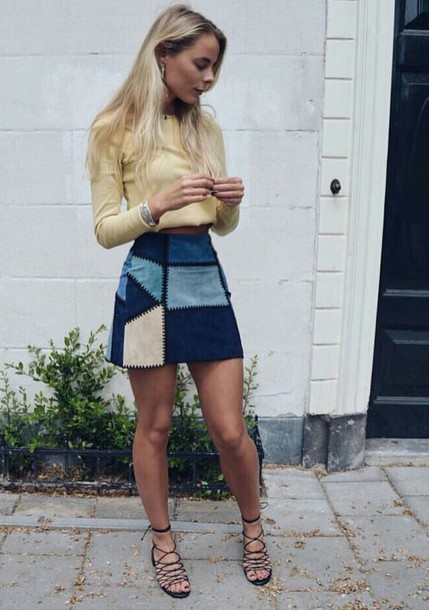 skirt blue patch colorful