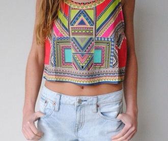 tank top top summer geometric aztec crop tops geometric print shirt shirt