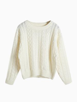 White cable crop jumper