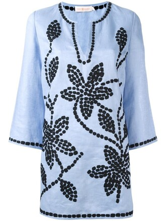 tunic embroidered women floral blue top