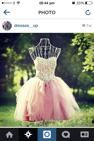 dress prom dress short pretty cute pink diamantes gems instagram