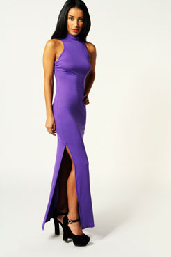 Martha High Neck Cut Out Back Detail Maxi Dress at boohoo.com