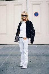 vanessa jackman,blogger,jacket,jeans,bomber jacket,sunglasses,white,flare