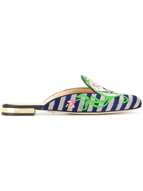 charlotte olympia women mules leather blue shoes