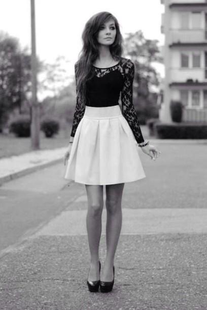 Shirt Skirt Blouse Black Lace Shirt Black Sleeves