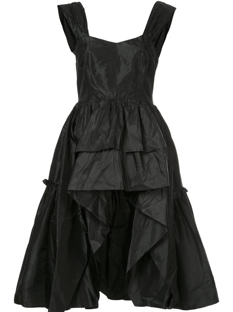 Isa Arfen - ruffled high low hem top - women - Silk - 12, Black, Silk