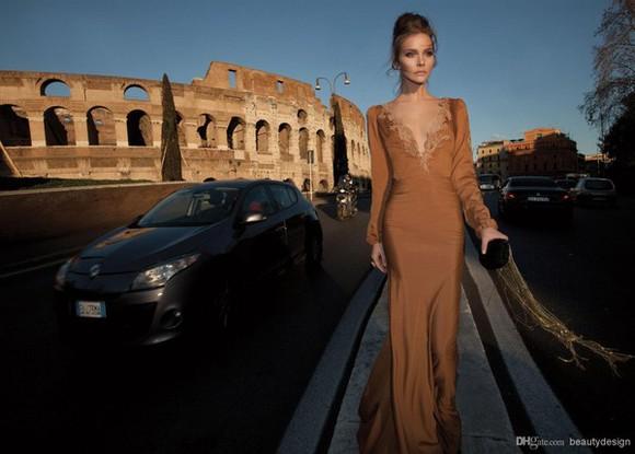 dress mustard prom dress long sleeve dress lace