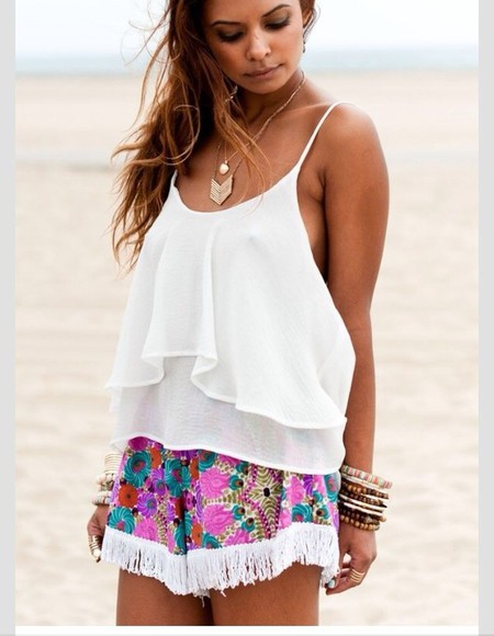 shorts jewels tank top