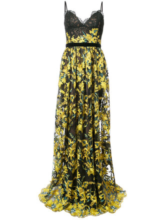 gown embroidered women lace floral black silk dress
