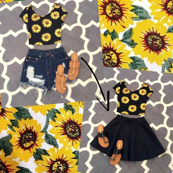 shirt sunflower sunflower wildflowers wildflower high rise shorts skater skirt black skater skirt floral flowers shoes skirt
