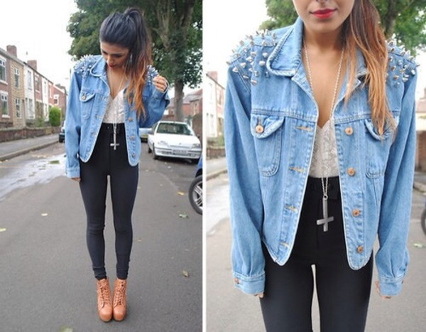 pants shoes cool dark elegant cute studs jeaned jacket black pants high waisted lace hipster crop tops jacket blouse jeans stud denim jacket grunge rock edgy coat cool girl style punk cross jeans ootd cute high heels jewels