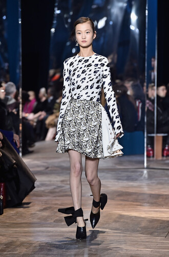 dress top skirt black and white pumps fashion week 2016 runway haute couture dior leopard print bow heels