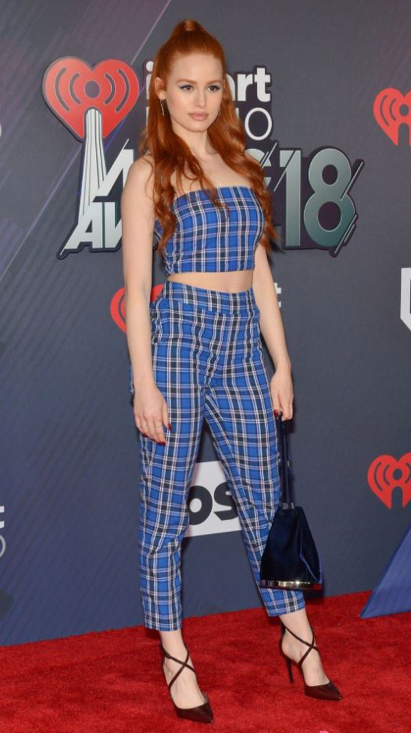 pants top crop tops pumps iheartradio strapless madelaine petsch plaid shoes