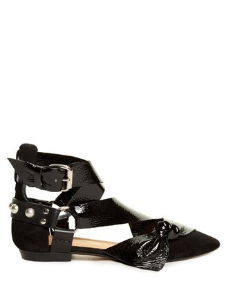 flats leather suede black shoes